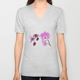 pink orchid flower watercolor painting Unisex V-Neck