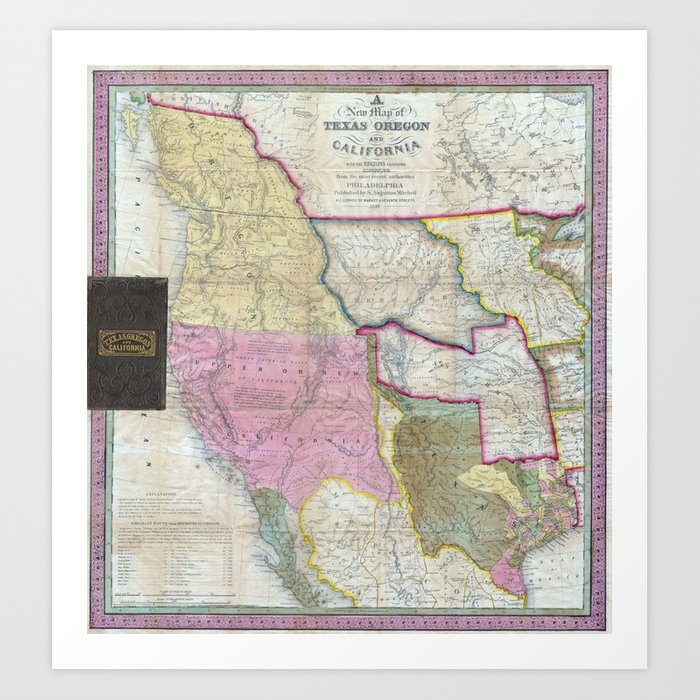 Vintage Map of The Western United States (1846) Art Print