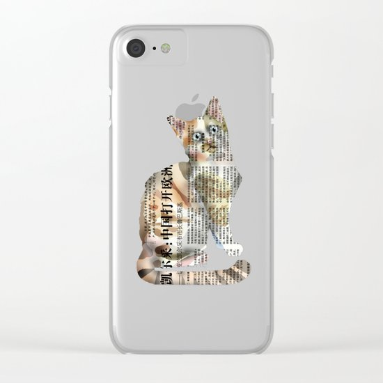 Cat Newspaper Collage Clear iPhone Case