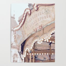 Classic Paris French Carousel Poster