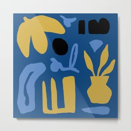 Abstract Classic Blue and Gold Metal Print