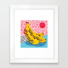 What It Is - memphis throwback banana fruit retro minimal pattern neon bright 1980s 80s style art Framed Art Print