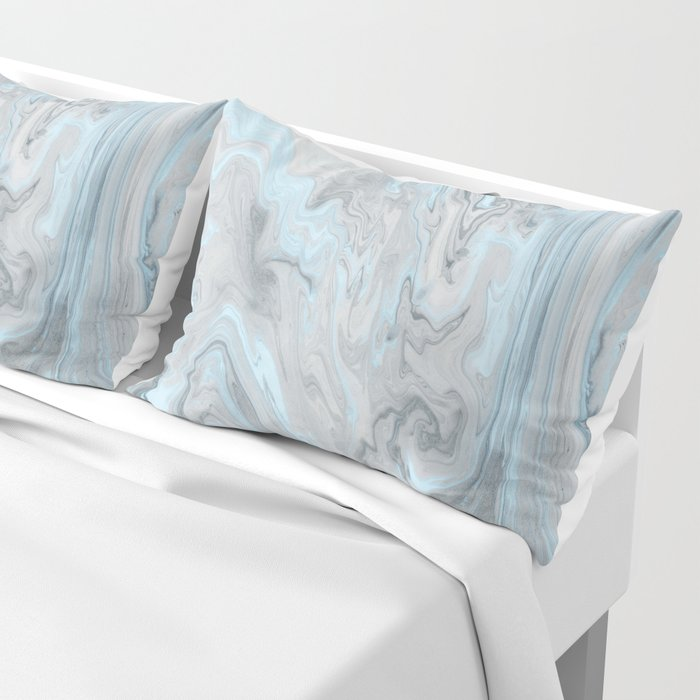 Ice Blue and Gray Marble Kissenbezug