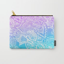 Modern purple turquoise mermaid watercolor floral white boho hand drawn pattern Carry-All Pouch