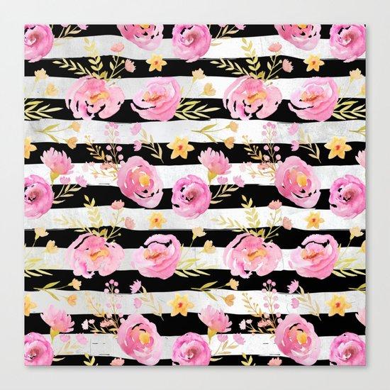 Delicate Poppy Pattern On Stripes Canvas Print