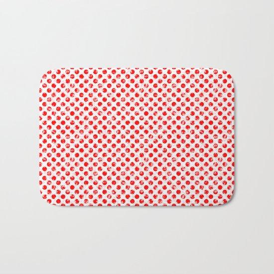 Polka Dot Red and Pink Blotchy Pattern Bath Mat