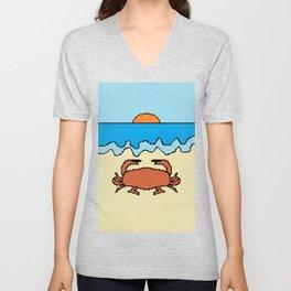crab on beach with sunset Unisex V-Neck