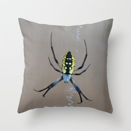 Yellow Garden Orb Weaver Throw Pillow