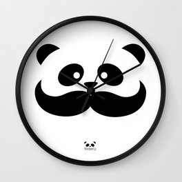 Moustache Panda Hug Wall Clock