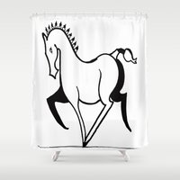 legs Shower Curtains featuring Merry Legs by Hazel Bellhop