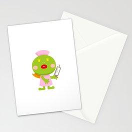 Frog blonde nurse and syringe Stationery Cards