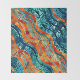 Wavy Tribal  Ethnic Boho Pattern Throw Blanket