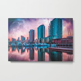 Alien fantasy landscape of the future - high rise buildings and moored yachts with huge alien planet Metal Print