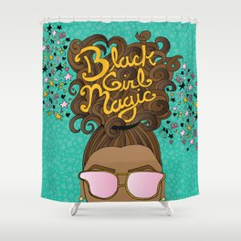 Black Girl Magic Teal Shower Curtain