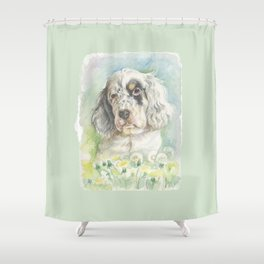 ENGLISH SETTER PUPPY Cute dog portrait on the dandelions meadow Shower Curtain