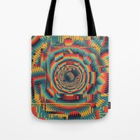 glitch Tote Bags featuring glitch by Blaz Rojs