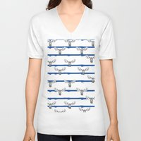 wallpaper V-neck T-shirts featuring Moose Wallpaper by terezamc.
