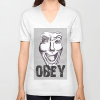 obey V-neck T-shirts featuring Obey by Cat Milchard