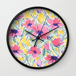 Painterly Watercolor Floral Pink Wall Clock