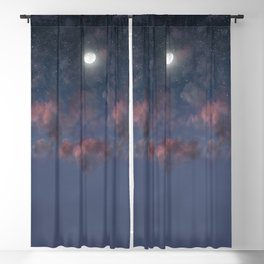Glowing Moon on the night sky through pink clouds Blackout Curtain