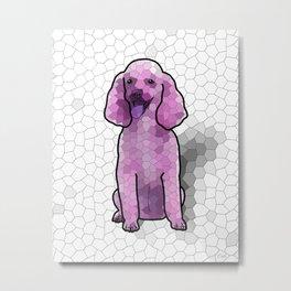 Poodle in Amethyst Mosaic Metal Print