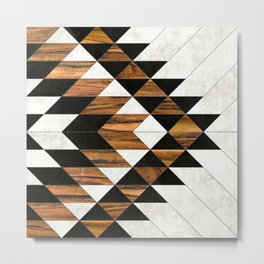 Urban Tribal Pattern 9 - Aztec - Concrete and Wood Metal Print