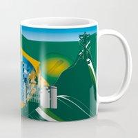 rio de janeiro Mugs featuring Rio de Janeiro skyline by siloto