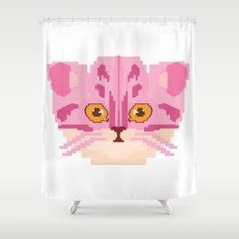Pixel Cat Lover Gamer Gaming Player Kitten Gift Shower Curtain