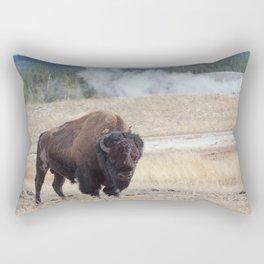 Old Buffalo Bull and Geyser. Rectangular Pillow