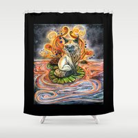 kitsune Shower Curtains featuring Lily Kitsune by Care Halverson