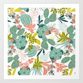 Succulent Garden White Art Print