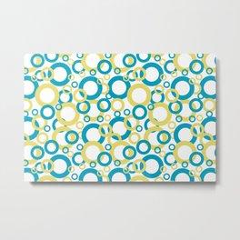 AI Aqua 098-59-30 Coloro 2021 Color Of the Year and Lemon Sherbet Yellow 046-85-28 Funky Geometric Rings Metal Print
