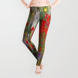 Red Geraniums in Spring Garden Landscape Painting Leggings