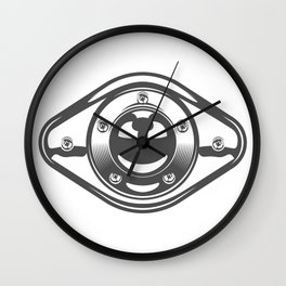 Motorcycle engine cover with a smile in design fashion modern monochrome style illustration Wall Clock