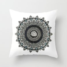 Black and White Flower Mandala with Blue Jewels Throw Pillow