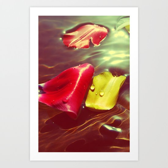 Lomo Vintage Flower Petals on Water Art Print