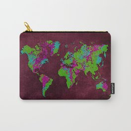 world map 85 green purple Carry-All Pouch