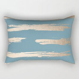 Abstract Painted Stripes Gold Tropical Ocean Blue Rectangular Pillow