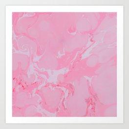Girly bubblegum pink white trendy marble pattern Art Print