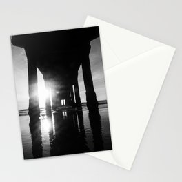 Manhattan Beach Pier in Black and White Stationery Cards