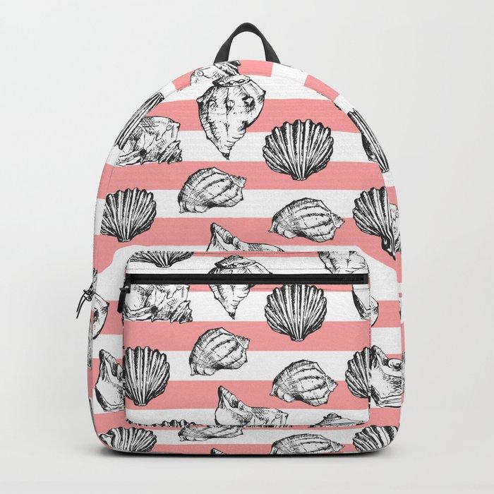 Seashells. Striped pattern Backpack
