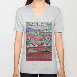 Colorful Mountains and Clouds Unisex V-Neck