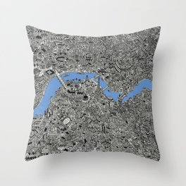 Map of London Thames Drawing Throw Pillow