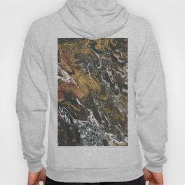 Golden Seas, abstract poured acrylic Hoody