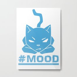 #MOOD Cat Blue Metal Print