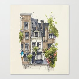 Residential house along Amsterdam canals Canvas Print