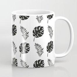 black and white tropical leaves Coffee Mug