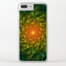 Beautiful Orange-Green Desert BarrelCactus Spiral Clear iPhone Case