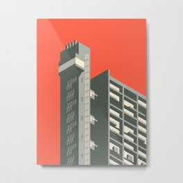 Trellick Tower London Brutalist Architecture - Red Metal Print