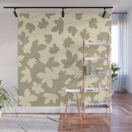 Envelope leaves decor. opposite.oive-green. off-white. Wall Mural